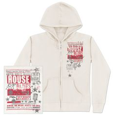 Cream Poster Hoody - 100% cotton fleece with poster collage design printed on back, and partial poster design printed on front left side.