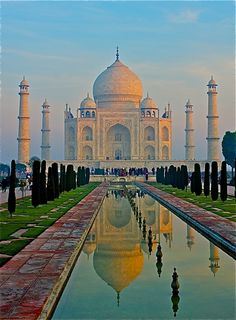 Beautiful Taj Mahal, For some reason it reminds me of a Salvador Dali artwork-maybe the colors...