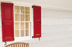 Not a fan of red, but these shutters are pretty similar to mine and this tutorial might come in handy when I repaint them.