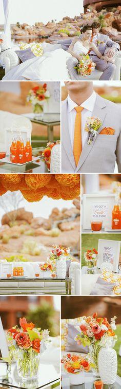 Une déco grise et orange jusque dans le détail de la cravate. #orange #wedding http://www.mariageenvogue.fr/s/31736_214321_-3-boules-degrade-de-peche