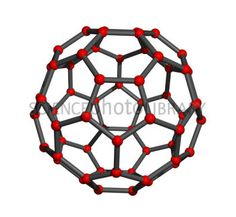 Buckminsterfullerene - a spherical fullerene molecule with the formula C60. It has a cage-like fused-ring structure (Truncated icosahedron) resembling a soccer ball, made of twenty hexagons and twelve pentagons, with a carbon atom at each vertex of each polygon and a bond along each polygon edge.  The name is a homage to Buckminster Fuller, as C60 resembles his trademark geodesic domes.