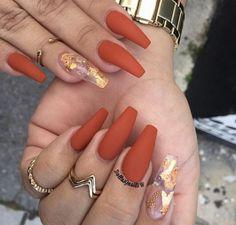 matte orange nails - coffin #nails #nailscoffin #coffinnails
