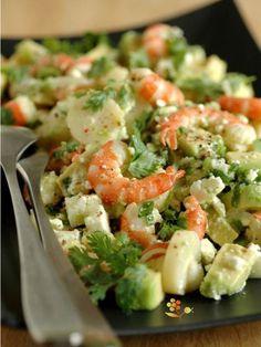 Salade crevettes, coeur de palmier, avocat et feta