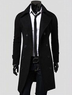Lapel Double Breasted Overcoat with Side Pockets