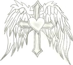 How To Draw A Cool Cross With Wings