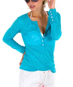 Look what I found on #zulily! Cino Turquoise Paisley Henley - Women by Cino #zulilyfinds