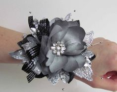 Great Gatsby Silver & Black Prom Corsage by justanns on Etsy