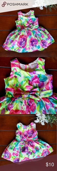 Girls Floral Tutu dress sz 12-18M Preloved no holes, tears,  or stains.  Sleeveless,  3 button rear closure,  bow at waist,  layered lining.  Machine washable. Pink Green blue purple white The Children's Place Dresses