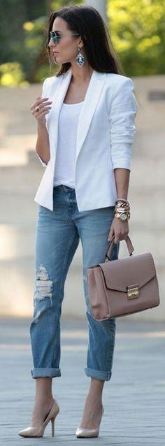 white blazer + nude heels + boyfriend jeans office outfit idea