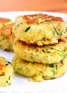 Zucchini Cakes-Less than 70 calories each and the perfect healthy snack, or lunch or dinner, when paired with a salad.
