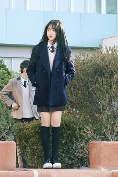 kim so hyun Korean Uniform School, School Uniform Girls, Girls Uniforms, School Uniform Fashion, Asian Fashion, Girl Fashion, Fashion Outfits, Korean Outfits, Mode Outfits