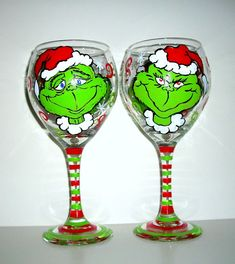 The Grinch Merry Christmas Hand Painted Wine Goblets Set of 2 / 20 oz. on Etsy, $45.00