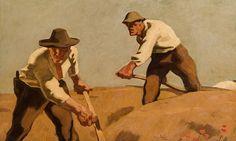 Albin Egger-Lienz – Drei Schnitter, um 1921, Öl auf Leinwand, 72x115 cm