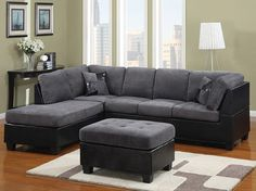 Red,black,and Gray Family Room Ideas | Grey Fabric And Black Leather  Sectional