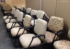 Office Staff Chairs Reupholstered.  New fabric = many smiles on the finishing touches of this office makeover.