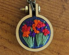 Flower Necklace, Hand Embroidery, Embroidered Jewelry, Mini-Embroidery Hoop