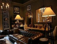 Restoration Hardware chesterfield sofa, tripod industrial lamps, large wall map, chandelier, and masculine decor Man Cave Living Room, Man Room, Living Room Decor, Living Spaces, Home Office Design, House Design, Man Cave Lighting, Garage Lighting, Estilo Interior