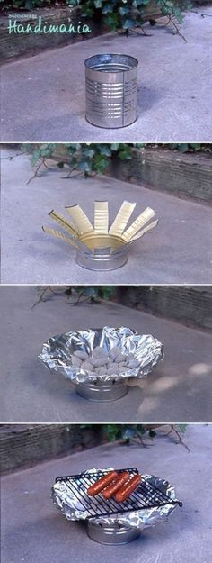 Tin Can Grill - Another fantastic way to repurpose tin cans. Cut down lengthways several times around the side of the tin can. Cover with tin foil, add coals and a grill rack and you're ready for a BBQ.