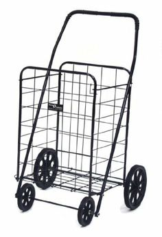 Easy Wheels Jumbo-A Shopping Cart, Black by Easy Wheels. $39.16. Basket size: 14-1/4-inch by 17-1/4-inch by 23-1/2-inch. Hardened plastic wheels, folds flat for easy storage. Cart Open Dimensions: 22-1/2-inch by 24-1/2-inch by 39-1/4-inch. Made of heavy gauge steel for durability, 125-pound weight capacity. Cart closed dimensions: 10-1/4-inch by 24-1/2-inch by 44-1/2-inch. This exceptionally high quality four wheel Jumbo-A Shopping Cart is ideal for shopping, laundry ...