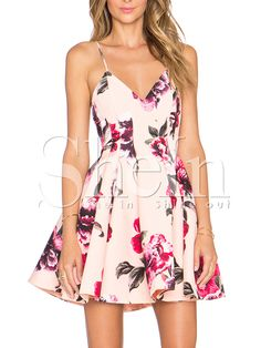 Multicolour Spaghetti Strap Backless Floral Print Flare Dress 24.99