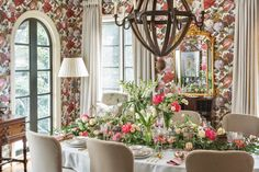 A painterly floral wallpaper makes an idyllic backdrop for a luncheon that celebrates the splendor of gardens in bloom. Find this feature and other springtime party ideas in our March/April issue, now available on newsstands and online! Creative Flower Arrangements, Floral Arrangements, Southern Ladies, Ladies Luncheon, Spring Party, Blue Bonnets, Spring Time, Backdrops, A Moveable Feast