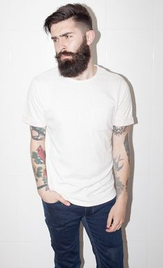 sometimes a plain white tee is the perfect complement to too much beard