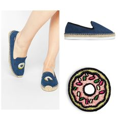 #NationalDonutDay   #DIY Asos donut shoes.  Find these denim espadrilles at HM.com and #JUSTADD donut sticker patches found on hipstapatch.com!