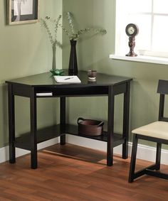 Small office...This stylish corner desk and chair do a lovely job of optimizing often under-utilized space. Their sturdy, eco-friendly construction ensures years of use while two shelves provides plenty of storage for study essentials.