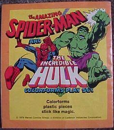Vintage 1979 Marvel Comics Incredible Hulk Amazing Spiderman Colorform Playset | eBay