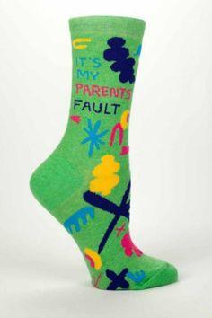 It's My Parents' Fault Socks in green.  Parents' Fault Socks by Blue Q. Accessories - Socks South Dakota