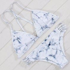 Sexy Bandeau Bikini Set Retro Print Bandage Swimsuit Bikini Brazilian Cut Out Biquini Brasileiro Swimsuit 2017 Swimwear Female