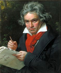 Joseph Karl Stieler Beethoven. This shows a pretty painting of this great musical composer. You can kind of see the manuscript he is writing.