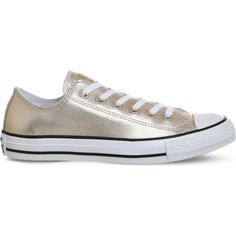 Converse All Star metallic-leather low-top trainers ($66) ❤ liked on Polyvore featuring shoes, sneakers, star sneakers, leather upper shoes, leather sneakers, leather low top sneakers and metallic shoes