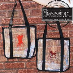 """Get game day ready with these clear bags! Measuring 12""""x12""""x6"""", this bag will hold all your game day essentials while being compliant with the new stadium regulations. www.TheMississippiGiftCompany.com/college-items-from-mississippi-universities.aspx"""