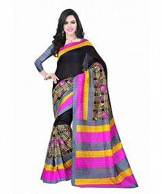 Black Color Bhagalpuri silk saree with blouse piece@ Rs.494.00