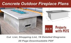 Learn how to make an outdoor gas fireplace. Detailed Video tutorial, photos, and plans.This is a high end looking fireplace made out of concrete! Outdoor Fireplace Plans, Outdoor Fire Table, Backyard Fireplace, Gas Fire Table, Concrete Fireplace, Diy Fireplace, Outdoor Patios, Outdoor Fireplaces, Fireplace Inserts