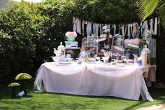 Styled Alice in Wonderland party table from a Shabby Chic Alice in Wonderland Baby Shower on Kara's Party Ideas | KarasPartyIdeas.com (10)