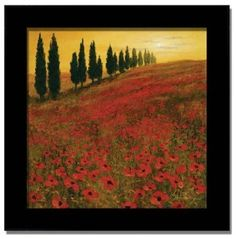 Poppies Steve Thoms Italian Tuscan Decor Framed Print - Love the colors, would go perfect in a small dining area