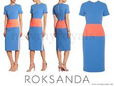 Duchess Catherine - Kate Middleton wore ROKSANDA Marwood Color-block Wool-Crepe Dress www.newmyroyals.com