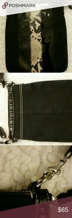 Coach Cross Body Handbag Beautiful  clothe Coach bag with suede lizard print and black patent leather stripes on the front of the bag. Perfect if used for all your little makeup and cellphone essentials. Coach Bags Crossbody Bags