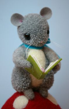 Once Upon A Time Pom Pom Mouse on Mushroom Reading Book by MykoBocekStudios