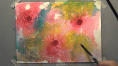 watercolor flowers plastic wrap