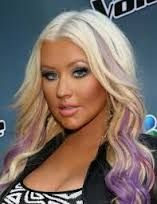 Platinum Blonde with Lavender  to Purple Peek-a-boo Ombre Effect