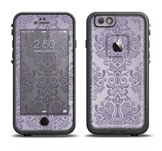 The Light Purple Damask Floral Pattern Apple iPhone 6/6s Plus LifeProof Fre Case Skin Set from DesignSkinz