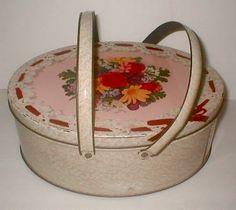 Vintage 40s Tin Basket Handles Sewing Kit Storage Vintage 40s by StudioStebbyLee for $32.00