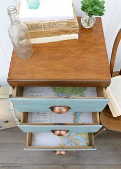 Learn how to refinish a dresser with Minwax products including Vintage Blue, the 2021 Color of the Year. Add faux-aged copper pulls and map paper lined drawers for the finishing touch. #ad DIY makeover ideas by Girl in the Garage Furniture Wax, Furniture Makeover, Painted Furniture, Furniture Inspiration, Home Decor Inspiration, Minwax Colors, Diy Furniture Tutorials, Painted Side Tables, Dresser Refinish
