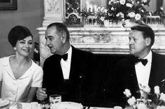 Danish Prime Minister Jens Otto Krag (to the right) with US President Johnson and Krag's wife, actress Helle Virkner, during a dinner in 1963. Can you believe that face? Audrey Hepburn, go home!