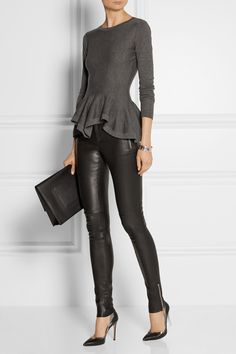 Style Inspiration: Long sleeve grey, black bottoms (Gucci Leather Leggings-Style Pants. Alexander McQueen Wool Peplum Sweater. Proenze Schouler  Lunch Bag Large Leather Clutch. Gianvito Rossi Metallic-Trimmed Leather Pumps.)