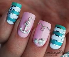 Amazing mermaid nails !!! Perfect for the sea lovers ... #oceannails #anchor. Paint NOT Jeweled!!!