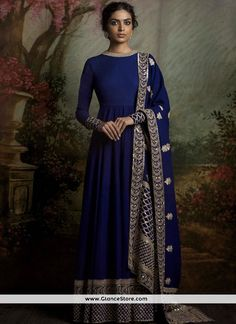 Marvelous Banglori Silk Navy Blue Floor Length Anarkali Suit